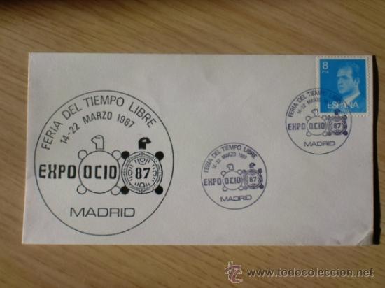 SOBRE CON MATASELLOS MADRID. 1987. EXPO OCIO 87. FERIA DEL TIEMPO LIBRE. (Sellos - Historia Postal - Sello Español - Sobres Primer Día y Matasellos Especiales)
