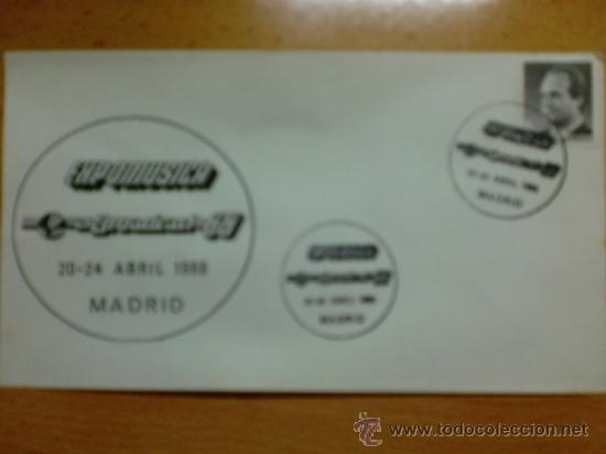 SOBRE CON MATASELLOS. MADRID. 1988. EXPOMUSICA BROADRAST-88. (Sellos - Historia Postal - Sello Español - Sobres Primer Día y Matasellos Especiales)