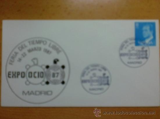 SOBRE CON MATASELLOS. MADRID. 1989. EXPO OCIO- 87. FERIA DEL TIEMPO LIBRE.. (Sellos - Historia Postal - Sello Español - Sobres Primer Día y Matasellos Especiales)