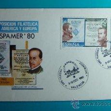 Sellos: SOBRE PRIMER DIA CIRCULACION, 1980, EXPOSICION FILATELICA DE AMERICA Y EUROPA, MATASELLOS VALENCIA. Lote 37240634
