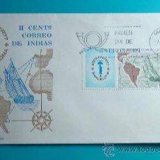 Sellos: SOBRE PRIMER DIA CIRCULACION, 1977, II CENTENARIO CORREO DE INDIAS, ESPAMER 77, MATASELLOS MADRID. Lote 37253313