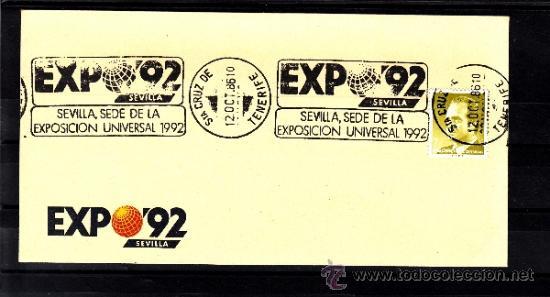 1986 RODILLO 51 SANTA CRUZ TENERIFE, EXPO 92, SEVILLA SEDE DE LA EXPOSICION UNIVERSAL 1992 (Sellos - Historia Postal - Sello Español - Sobres Primer Día y Matasellos Especiales)