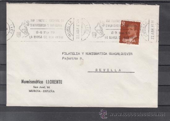 1981 RODILLO 46 MURCIA CIRCULADO, XIII CONGRESO NACIONAL GERONTOLOGIA Y GERIATRIA, MANGA MAR MENOR (Sellos - Historia Postal - Sello Español - Sobres Primer Día y Matasellos Especiales)
