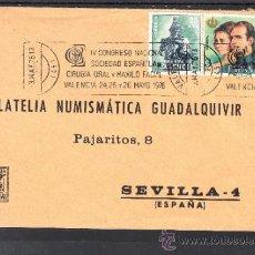 Sellos: 1976 RODILLO 39 VALENCIA CIRCULADO, IV CONGRESO NAC. SOCIEDAD ESPAÑOLA CIRUGIA ORAL Y MAXILO FACIAL. Lote 37789851
