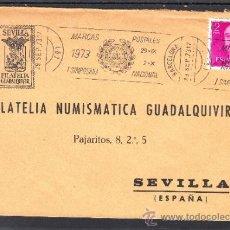 Sellos: 1973 RODILLO 64 BARCELONA CIRCULADO, I SIMPOSIUM NACIONAL MARCAS POSTALES,. Lote 37813225