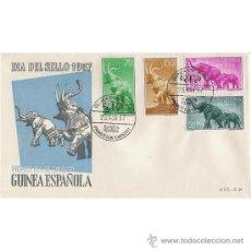 Sellos: GUINEA 23 NOV. 1957 SOBRE PRIMER DIA - FAUNA ELEFANTES. Lote 37730403
