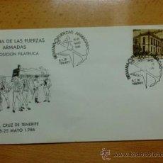 Sellos: SOBRE CON MATASELLOS DE SANTA CRUZ DE TENERIFE. 1986. SEMANA DE LAS FUERZAS ARMADAS.. Lote 37737882