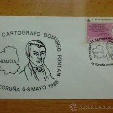 Sellos: SOBRE CON MATASELLOS DE LA CORUÑA. 1988. BICENTENARIO CARTOGRAFO DOMINGO FONTAN.. Lote 37738312