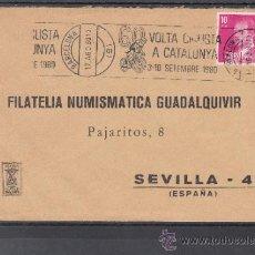 Sellos: 1980 RODILLO 77 BARCELONA CIRCULADO, DEPORTE, 60 VUELTA CICLISTA A CATALUÑA, . Lote 37742812