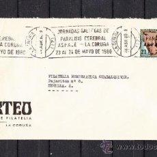 Sellos: 1980 RODILLO 42 LA CORUÑA CIRCULADO, MEDICINA, JORNADAS GALLEGAS DE PARALISIS CEREBRAL, ASPACE . Lote 37745255
