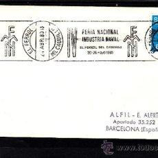 Sellos: 1980 RODILLO 41 EL FERROL (LA CORUÑA) CIRCULADO, BARCO, IV FERIA NACIONAL INDUSTRIA NAVAL, . Lote 37745266