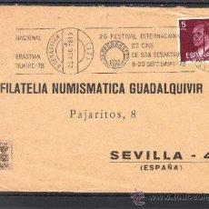 Sellos: 1978 RODILLO 62 SAN SEBASTIAN CIRCULADO, 26 FESTIVAL INTERNACIONAL DE CINE DE SAN SEBASTIAN . Lote 37754787
