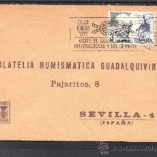 Sellos: 1977 RODILLO 1 BARCELONA CIRCULADO, VISITE EL SALON NAUTICO INTERNACIONAL Y DEL DEPORTE, . Lote 37773982