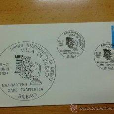 Sellos: SOBRE CON MATASELLOS DE BILBAO. 1987. TORNEO INTERNACIONAL DE AJEDREZ. VILLA DE BILBAO.. Lote 37870217