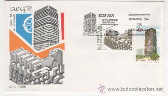 EUROPA. ARTES MODERNAS ARQUITECTURA.-1987 (Sellos - Historia Postal - Sello Español - Sobres Primer Día y Matasellos Especiales)