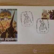 Sellos: SOBRE CON MATASELLOS. SEVILLA. 1987. DIA DE EMISION. SEMANA SANTA SEVILLANA.. Lote 38141874
