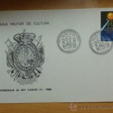 SOBRE CON MATASELLOS. CADIZ. 1988. XXVI AULA MILITAR DE CULTURA. HOMENAJE AL REY CARLOS III.