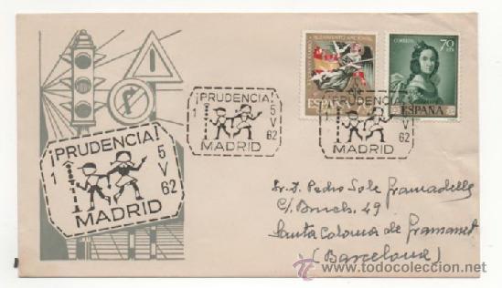 EDUCACION VIAL MATASELLO DE 1962 - MADRID (Sellos - Historia Postal - Sello Español - Sobres Primer Día y Matasellos Especiales)