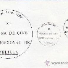 Sellos: CINE INTERNACIONAL XI SEMANA, MELILLA 1986. RARO MATASELLOS EN SOBRE CON BONITA ILUSTRACION.. Lote 38579708