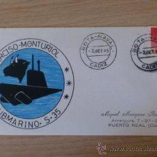 Selos: SOBRE CON MATASELLOS. ROTA NAVAL. 1985. NARCISO MONTURIOL. SUBMARINO S-35.. Lote 38720461