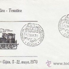 Sellos: TRENES EXFITREN 70 HOMENAJE FERROCARRIL LANGREO (ASTURIAS) 1970. MATASELLOS GIJON RARO SOBRE ILUSTRA. Lote 39157957