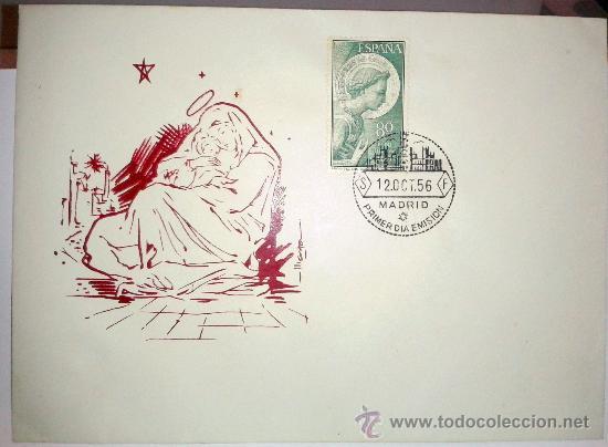 SOBRE PRIMER DIA DE EMISION DEL 12 DE OCTUBRE DE 1956,CON UN SELLO DE 80 CTMS (Sellos - Historia Postal - Sello Español - Sobres Primer Día y Matasellos Especiales)