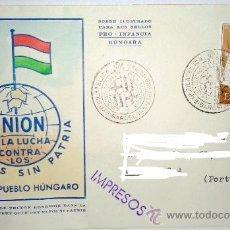 Sellos: SOBRE PRIMER DIA PRO-INFANCIA HUNGARA SELLADO EN BARCELONA EL 26 AL 30 DE ENERO DE 1957. Lote 39247701