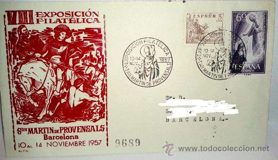 SOBRE PRIMER DIA VIII EXPOSICION FILATELICA SAN MARTIN DE PROVENSALS DEL 1957 (Sellos - Historia Postal - Sello Español - Sobres Primer Día y Matasellos Especiales)