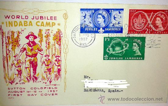SOBRE PRIMER DIA DE WORLD JUBILEE DEL AÑO 1957 (Sellos - Historia Postal - Sello Español - Sobres Primer Día y Matasellos Especiales)