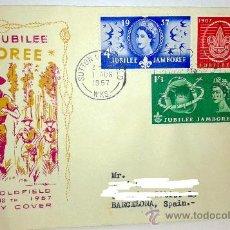 Sellos: SOBRE PRIMER DIA WORLD-JUBILEE-ROVER MOOT 1 AGOSTO 1957. Lote 39248790