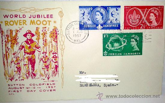 SOBRE PRIMER DIA WORLD JUBILEE-INDABA-CAMP DEL 1 AGOSTO DE 1957 (Sellos - Historia Postal - Sello Español - Sobres Primer Día y Matasellos Especiales)