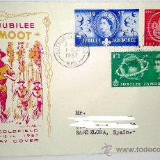 Sellos: SOBRE PRIMER DIA WORLD JUBILEE-INDABA-CAMP DEL 1 AGOSTO DE 1957. Lote 39248938