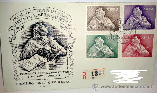 SOBRE PRIMER DIA DE PORTUGAL SELLADO EL 7 DE MARZO DE 1957 (Sellos - Historia Postal - Sello Español - Sobres Primer Día y Matasellos Especiales)