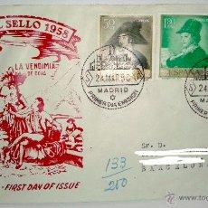 Sellos: SOBRE PRIMER DIA DEL DIA DEL SELLO 1958 SELLADO EN MADRID. Lote 39443787