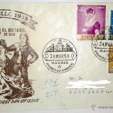Sellos: SOBRE PRIMER DIA DEL DIA DEL SELLO 1958 SELLADO EN MADRID 24-3-1958. Lote 39444137