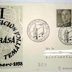 Sellos: SOBRE PRIMER DIA II EXPOSICION FILATELICA TEMATICA DE TARRASA DEL 25-29 ENERO AÑO 1958. Lote 39444184
