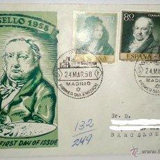Sellos: SOBRE PRIMER DIA DEL SELLO 1958 HOMENAJE A FCO DE GOYA,SELLADO EN MNADRID EL 24-3-1958. Lote 39444220