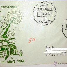 Sellos: SOBRE PRIMER DIA XXXVI FERIA MUESTRARIO INTERNACIONAL EN VALENCIA DEL 1 AL 2O MAYO 1958. Lote 39444608