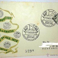 Sellos: SOBRE PRIMER DIA DE LA NOVENA EXPOSICION FILATERICA DE GRACIA DEL 15 AL 24 DE AGOSTO DE 1958 . Lote 39444976