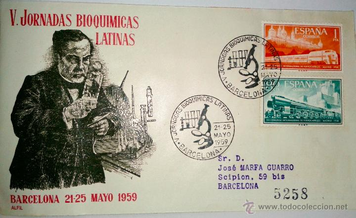 SOBRE PRIMER DIA ,V.JORNADAS BIOQUIMICAS,LATINAS, BARCELONA 21-25 DE MAYO 1959 (Sellos - Historia Postal - Sello Español - Sobres Primer Día y Matasellos Especiales)