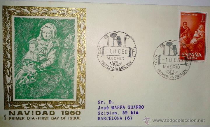 SOBRE PRIMER DIA ( NAVIDAD 1960 ) (Sellos - Historia Postal - Sello Español - Sobres Primer Día y Matasellos Especiales)