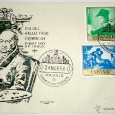 Sellos: SOBRE PRIMER DIA DEL SELLO 1958,FRANCISCO GOYA, SELLADO EN MADRID 24-3-1958. Lote 39564190