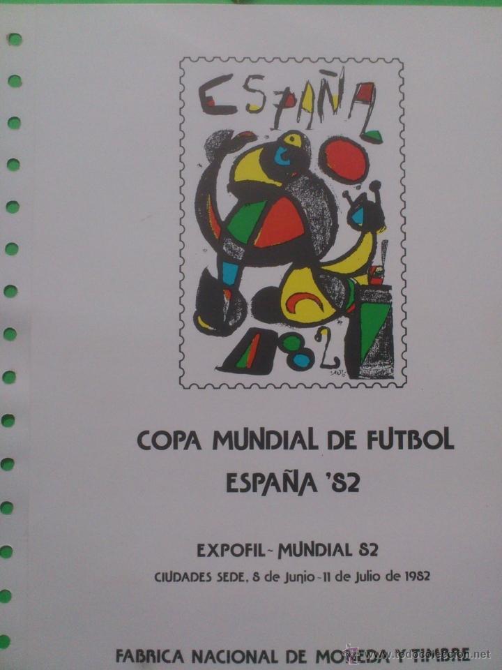 Sellos: Hoja conmemorativa Mundial 82 fútbol. Hoja bloque con 4 sellos con Matasellos La Coruña. - Foto 2 - 40242889