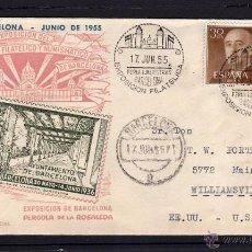 Sellos: EXPOSICION FILATELICA FERIA DE MUESTRAS, BARCELONA 1955, CIRCULADA JOSE RIERA ROVIRA, GRANOLLERS. Lote 40291111