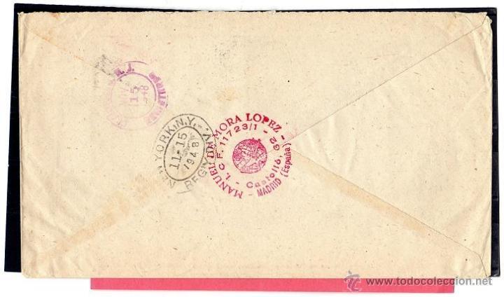 Sellos: PRIMER CORREO AEREO DIRECTO BARCELONA, BOSTON, NUEVA YORK, OCTUBRE 1948 LINCOLN - Foto 2 - 40291344