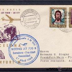 Sellos: PRIMER VUELO BOEING JET 720 B LUFTHANSA BARCELONA - FRANKFURT DUSSELDORF DE 1963 MAT CORREO AEREO. Lote 40541493