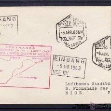 Sellos: PRIMER VUELO LUFTHANSA PALMA DE MALLORCA (BALEARES) A NIZA 1963 EN CARTA CIRCULADA. LLEGADA.. Lote 40544407