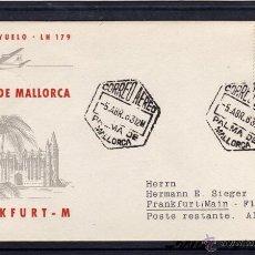 Sellos: PRIMER VUELO LUFTHANSA PALMA DE MALLORCA (BALEARES) - FRANKFURT 1963 EN CARTA CON LLEGADA. Lote 40544586