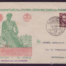Sellos: ESPAÑA.(CAT.1036).1948 (15 JUN). 1ER. DÍA. SOBRE ILUSTRADO DE CORREO INTERIOR DE BARCELONA.MAGNIFICA. Lote 27465682