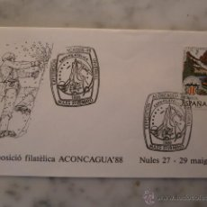 Sellos: EXPO. FILATELICA,ACONCAGUA 88-NULES,CASTELLON-MATASELLOS ESPECIAL.. Lote 40869243